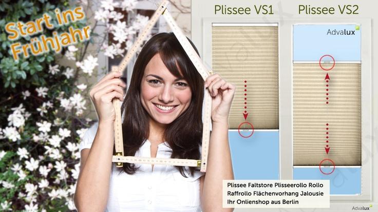 Endlich ist es Frühling in Deutschland. Und bei mir gibt es: maßgefertigt für alle Fenster: das Plisseerollo in beige, weiß, silbergrau in Farben und mit Mustern ... Es gibt ihn als verspanntes oder freihängenden Faltstore. Advalux bietet im Onlineshop alle Varianten an. Befestigt mit Schrauben in der Glasleiste, Halter an Wand oder Decke oder Plissee kleben - die Montage mit praktischen Klebeträgern ... ab 27,95 € inkl. Versand.