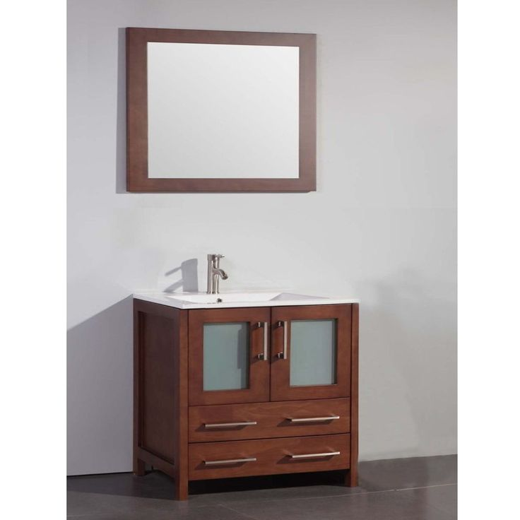top 36 inch sink cherry bathroom vanity and matching framed mirror