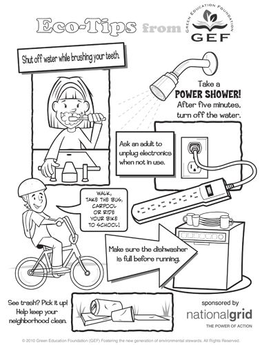 printable eco tips poster for coloring water conservationboy