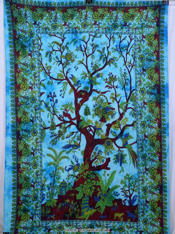 Sky Blue Tie Die albero stampa arazzo Hippie di JaipurKalaKendra