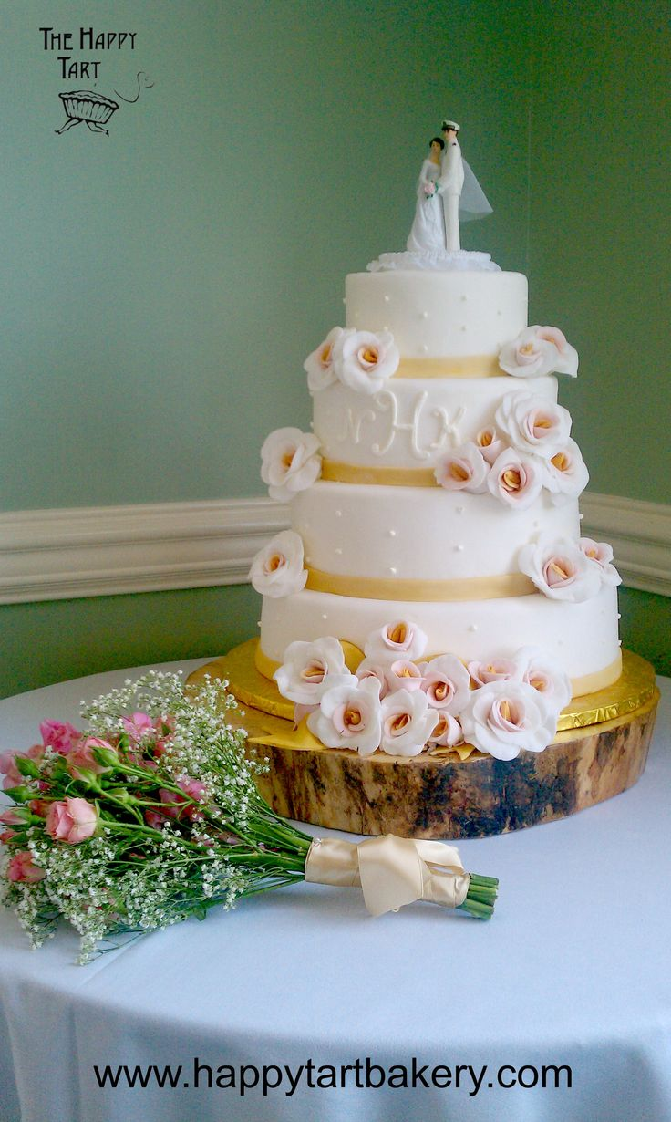 wedding cakes los angeles prices%0A Gluten Free Fondant Wedding Cake with Gumpaste White Roses with Pink Gold  Centers  Monogram