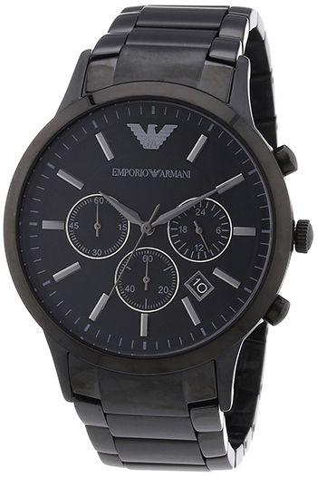 Montre Homme Armani AR2453 - Quartz Chronographe Date - Cadran et Bracelet en Acier inoxydable Noir
