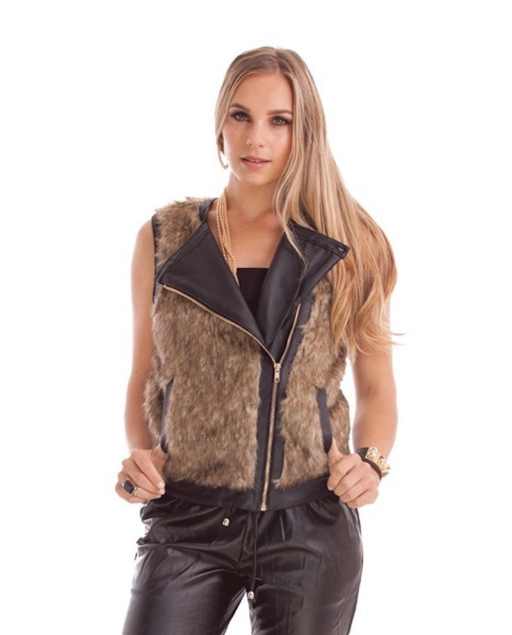 ATHENA FAUX FUR VEST  STYLE DETAILS:  Fully-lined faux fur vest Asymmetrical front with zipper  FIT DETAILS:  Comfortable fit Mid-weight Standard Australian sizing  STYLING:  Step-up winter styling with this faux fur vest Wear over a black t-shirt with black denim jeans and a pair of heels