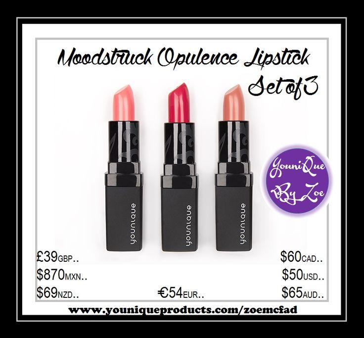 Moodstruck Opulence Lipstick 3er Set Drei Farben. Vollständige Abdeckung. Vermeidet das ausfransen der Farbe.