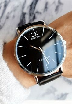 Calvin Klein Black & Silver Faux Leather Watch 90s Style
