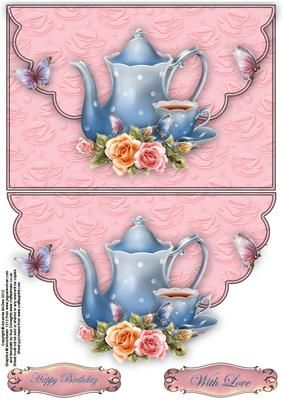 Roses and teatime envelope card on Craftsuprint designed by Amanda McGee - A pretty envelope card featuring teapot, teacup and roses elements - Now available for download!