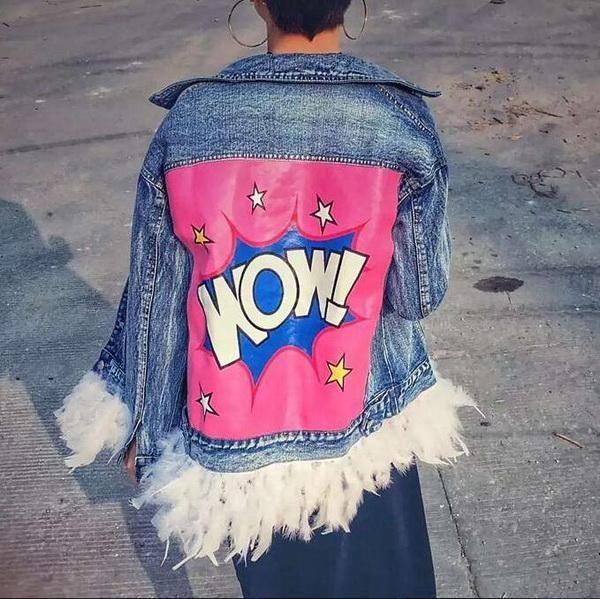 2017 Autumn Short Denim Jacket Women With Feather New Boyfriend Fashion Loose Streetwear Detachable Letters Cowboy Jackets Coats
