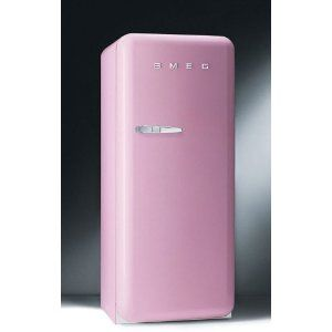 Pink Smeg Retro Refrigerator. Not for the faint of heart, this retro refrigerator will be the new focal point of your kitchen with its high end, stylish design. Aesthetics are not at the expense of functionality, the interior offers ample space for fresh foods and has a place for everything.