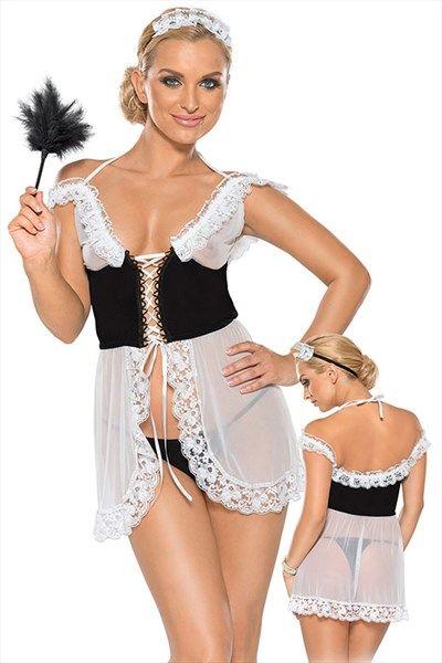 Doorzichtig huishoudster kostuum | Willie.nl Dit huishoudster kostuum is geheel doorzichtig op het zwarte middel na. Het kostuum bestaat uit een jurkje, een string en een haarband. Het zwarte midden is vast te maken door middel van een veterdetail. De onderkant van het kostuum is in het midden geopend en is afgewerkt met een kanten rand. Het deel rond de borsten is ook doorzichtig en heeft een dubbele ruches rand. Het jurkje is naast het veterdetail ook te sluiten door een touwtje in de nek.