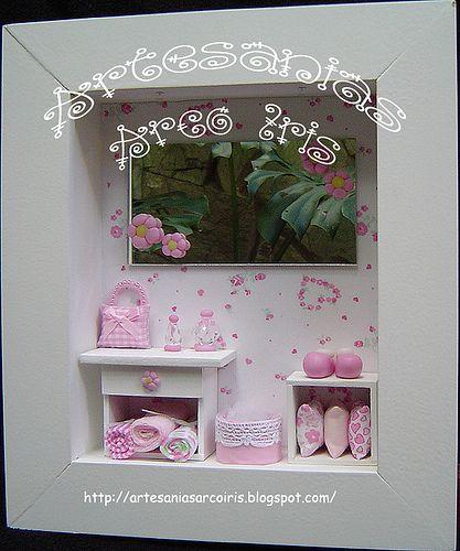 Cuadros infantiles modelo Brisa con fondo entelado rosa ♥