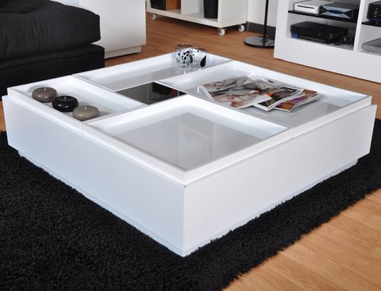 Table basse UB DESIGN Broklyn blanche carrée