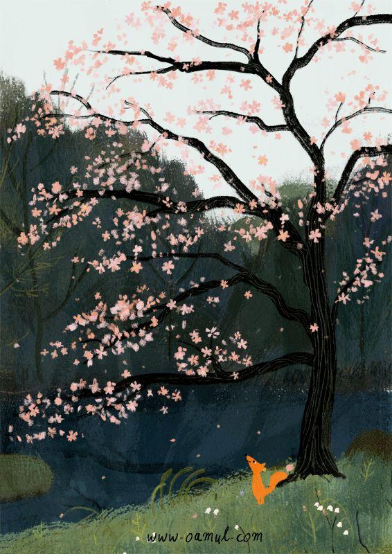 Animated tree and fox gif