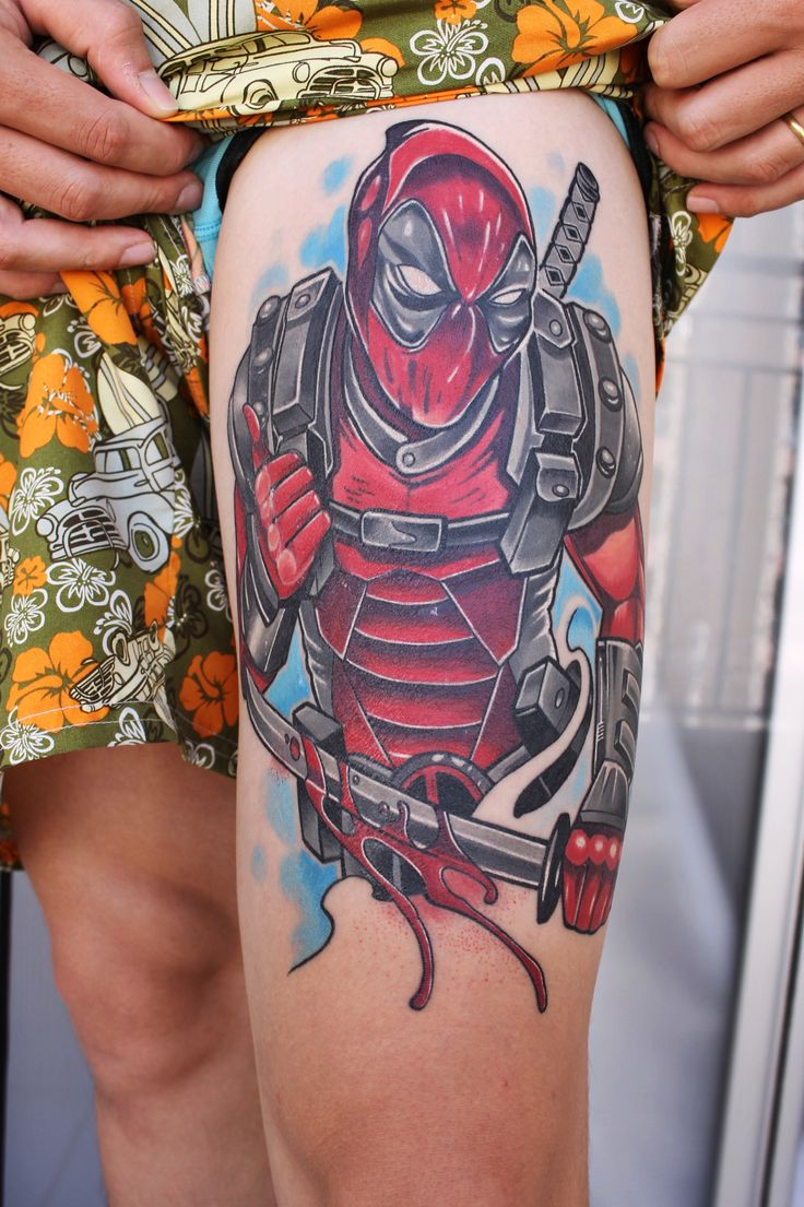 Tattoo Comic Deadpool รอยส ก