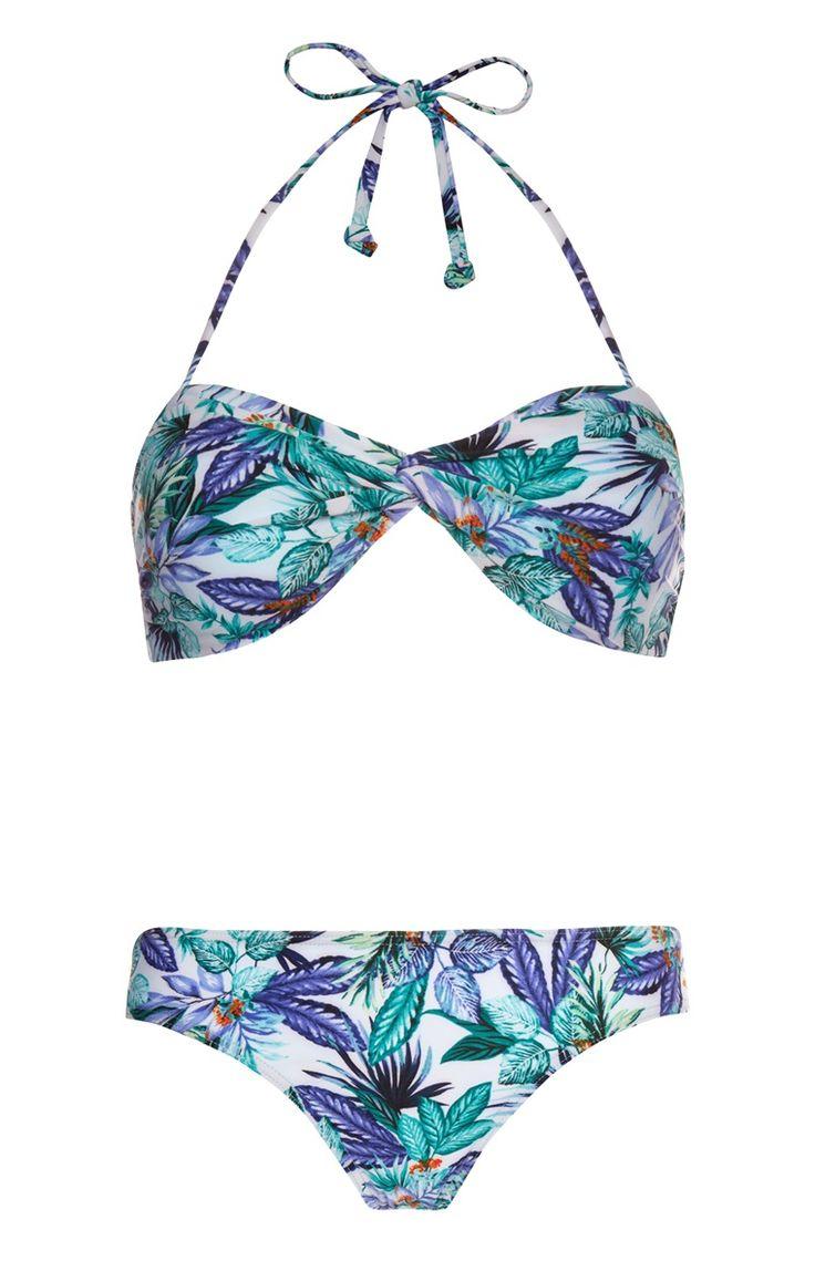 Primark - Blue Floral Print Twist Bikini Set