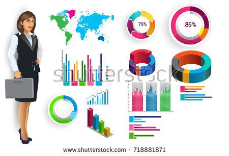 Business infographic elements vector set, business woman and other elements for infographic. Template for diagram, graph, presentation and chart. Business concept with parts, steps or processes.