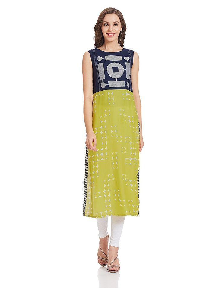 W for woman womens blue cotton straight kurta material