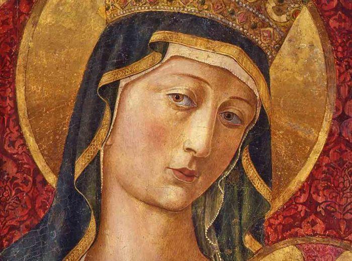 Benozzo Gozzoli, Madonna col Bambino (Madonna del Poggio), (detail), tempera e oro su tavola, 1480 - 85 circa, In deposito al Museo Nazionale di San Matteo, Pisa Calci