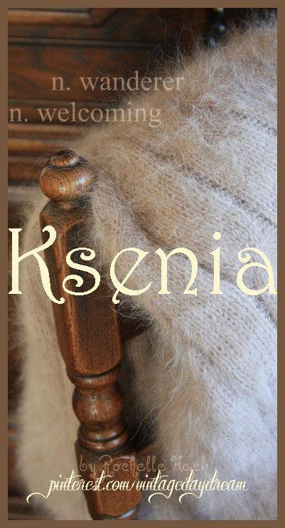 Baby Girl Name: Ksenia (kuh-SEN-ya). Meaning: Wanderer; Welcoming. Origin: Greek; Russian; Polish; Latvian; Estonian; Croatian. https://www.pinterest.com/vintagedaydream/baby-names/