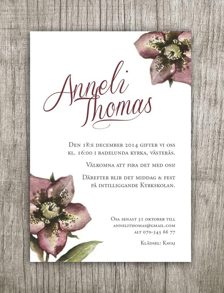 Inbjudningskort till ett vinterbröllop med det nya motivet Julros. Invitation winter wedding. http://annagorandesign.shop.textalk.se