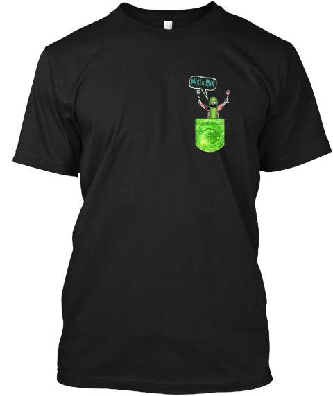 Pickle Funny Rick Pocket Black T-Shirt Front