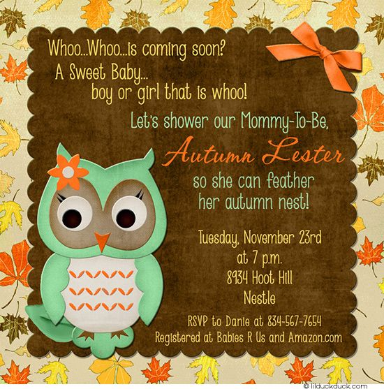 surprise baby shower invite | Owl Fall Surprise Baby Shower Invitation - Gender-Neutral Color Scheme