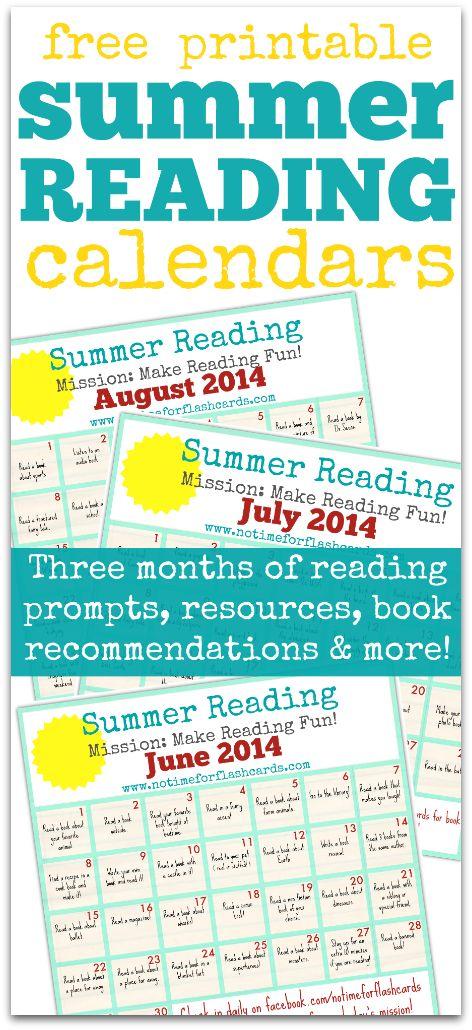 Summer Reading Calendar - FREE Printable