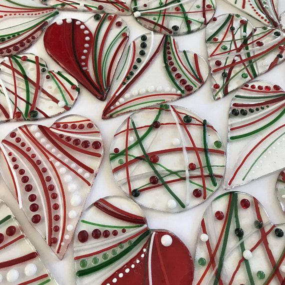 HEARTSTRINGS Fused Glass Ornament