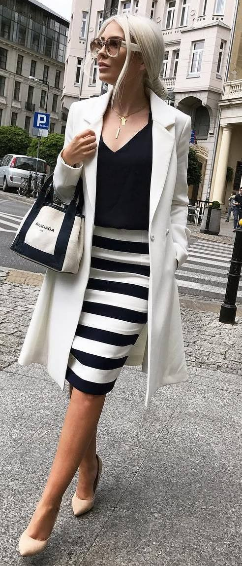 white and black elegant outfit : coat + top + bag + stripped skirt + heels