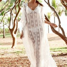 New Arrivals Sexy Beach Cover up Soft Lace White Swimwear Dress Ladies Pareo Bea... 3