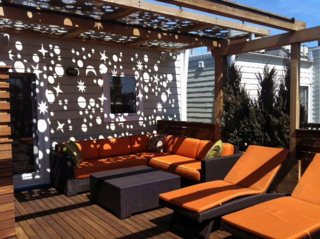 Roof Deck Pergola Retractable Shade And Metal Panel Urban