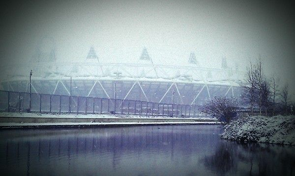 Olympic Statium from Hertford Union Canal, Winter