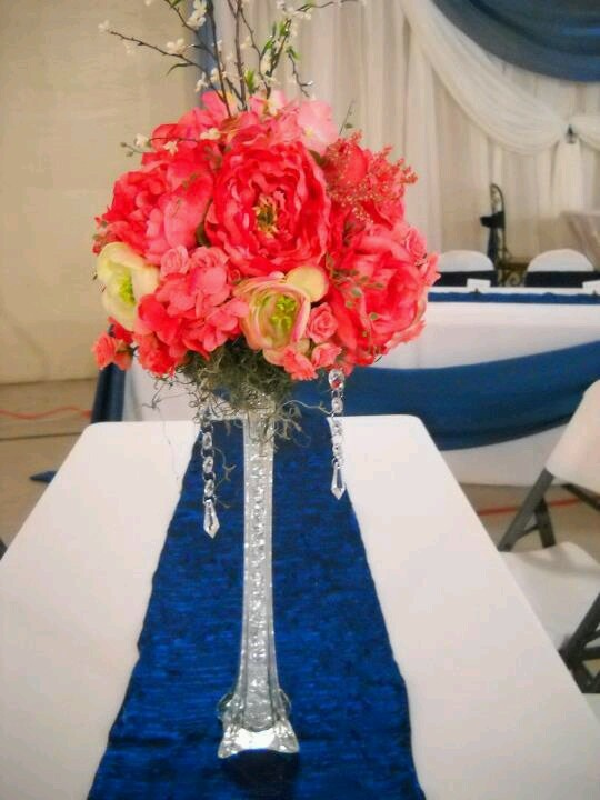 Centerpieces wedding coral blue