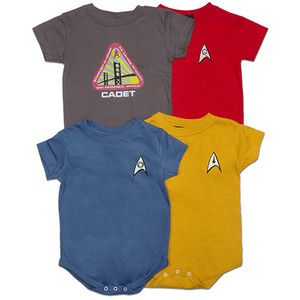 Think we can pretty much guarantee my kids are gonna have a Star Trek uniform onesie. (Would probably steer away from the red shirt, though.)