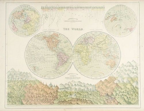 J, Bartholomew. The World. Comparative View of the Lengths of the Principal Rivers in British Miles. Comparative View of the Heights of the Principal Mountains Showing Their Height in Feet Above the Level of the Sea. #map