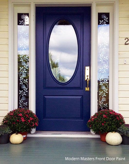 blue front door painted with Modern Masters