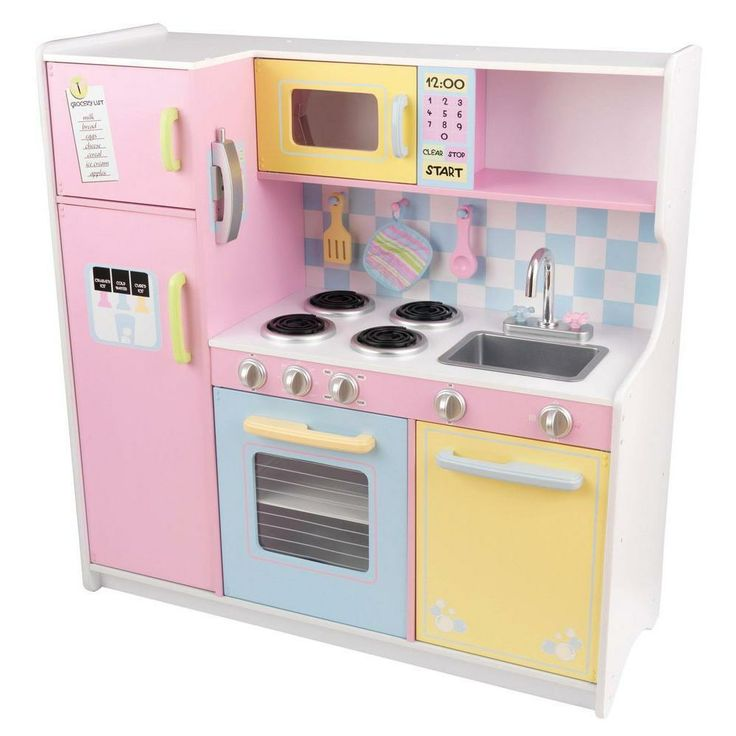This kid-sized kitchen features bright colors, imaginative details and is sure to impress the young chefs in your life. This kitchen is perfect for children ages 3 and up.
