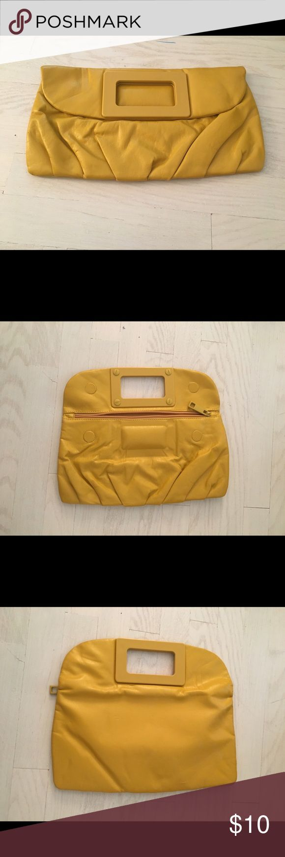 H&M Yellow Clutch Bag Adjustable, fold over yellow clutch with zipper opening and magnets to help close.  Inside zipper. H&M Bags Clutches & Wristlets