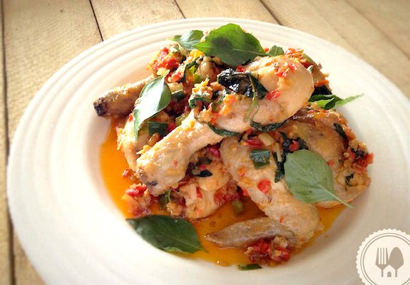 AYAM MASAK RICA-RICA by Ervita Damayanti. Ayam cooked in rica-rica style, spicy hot and fragranced with aromatic leaves