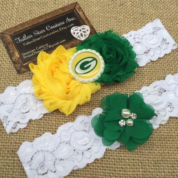 Wedding garter / Packers / wedding garter SET / Green Bay bridal garter/ lace…