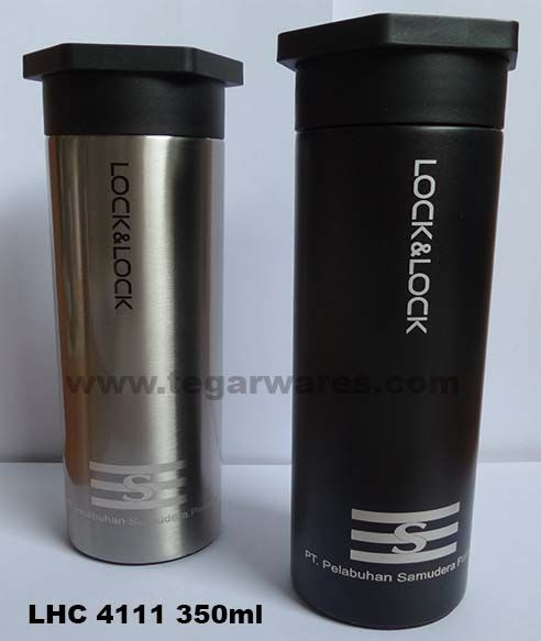 Elegant and masculine design, is ideal for use as a water bottle man, or used as merchandise limited event that involving a man like racing, hiking, biking, motocross or any type of exercise that is dominated by men. Ideal also serve as exclusive merchandise mining, shipping, oil companies and others. Looks image above thermos tumbler type LHC 4111  capacity 350ml ordered by PT Pelabuhan Samudera Palaran.