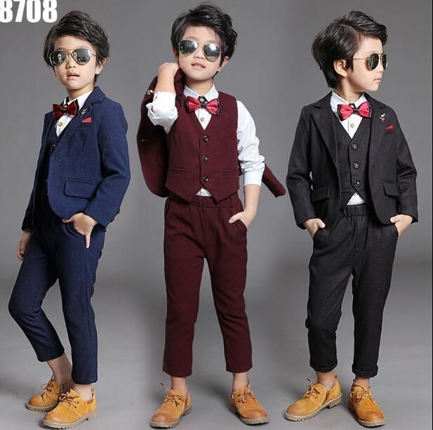 Jacket+Pants Page Boy Suit Child Dinner/'s Party Tuxedos Newest Wear Toddler Suit