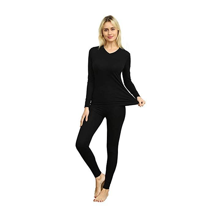 VIPEX Womens Micromodal Thermal Underwear Low Collar Invisible Long Johns Winter Base Layering Set