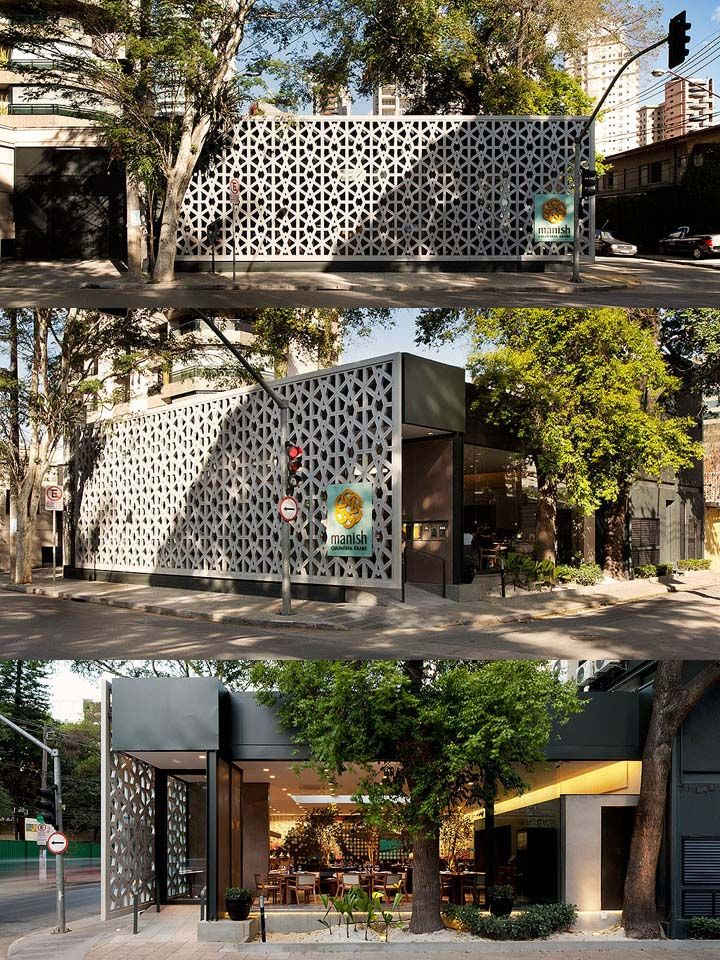 Manish Restaurant // São Paulo  Love the exterior wall along the street!     Images from: http://retaildesignblog.net/2012/12/16/manish-restaurant-by-odvo-arquitetura-sao-paulo/