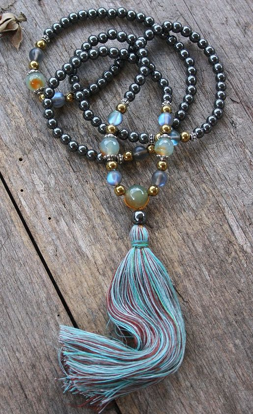 Mala made of 108, 6 mm - 0.236 inch, very beautiful hematite gemstones and decorated with hematite and color plated frosted crystal beads.
