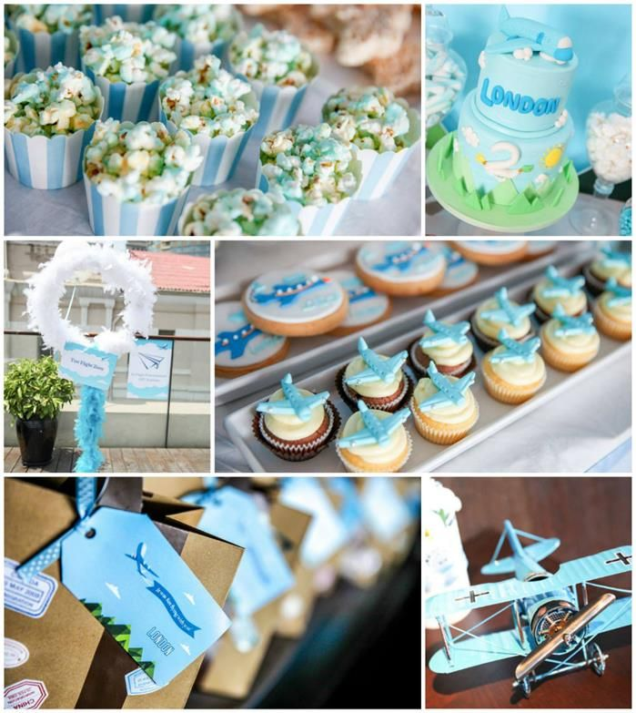 Airplane themed birthday party full of cute ideas via kara for Airplane party decoration ideas
