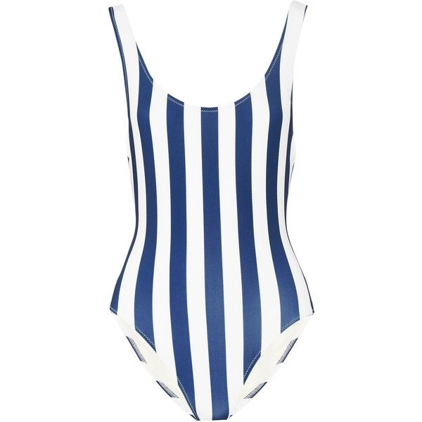 Solid and Striped The Anne-Marie striped swimsuit ($168) ❤ liked on Polyvore featuring swimwear, one-piece swimsuits, navy, sporty swim suits, navy striped swimsuit, striped swimsuit, sporty one piece swimsuits and navy swimsuit