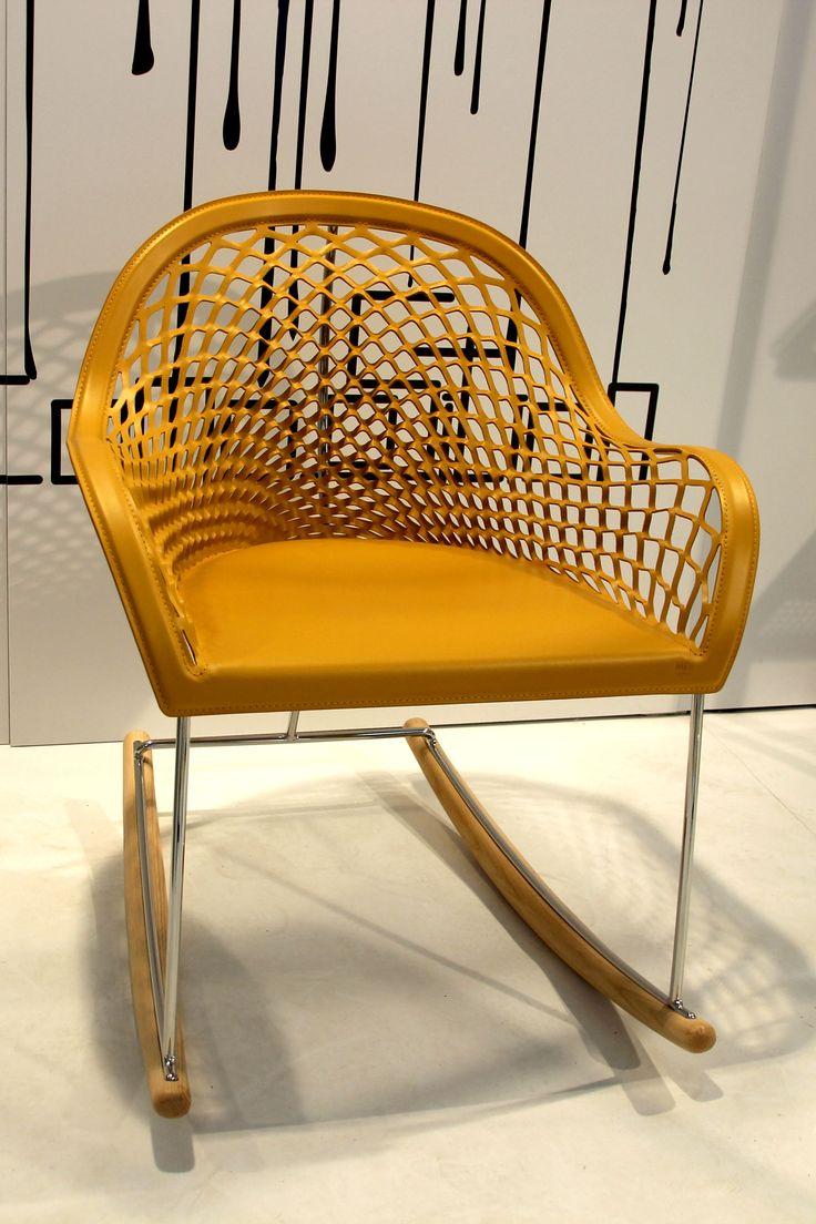 Nice leather cut chair showing an elegant 3D mesh pattern, designed by Castellani.it.  #castellani.it #design #fuorisalone2016