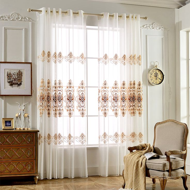 High quality luxury embroidered sheer gauze curtains window curtain drapes valances for living room bedroom cortinas para sala  #Affiliate
