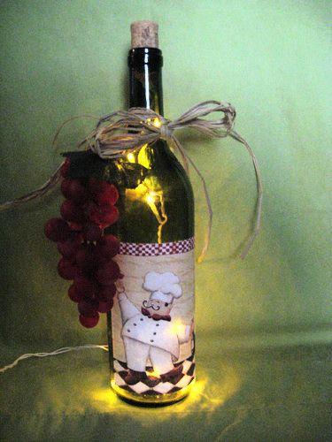 Fat Chef Lighted Wine Bottle Handcrafted Ebay Chef Kitchen Decorbistro Kitchenkitchen