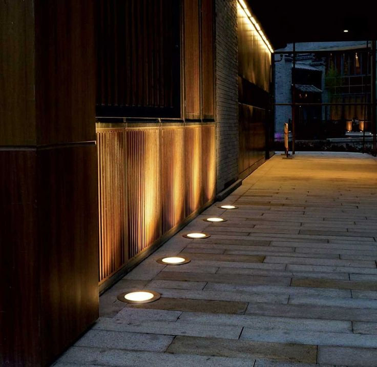 Outdoor Wall Lighting with wooden wall and footlight
